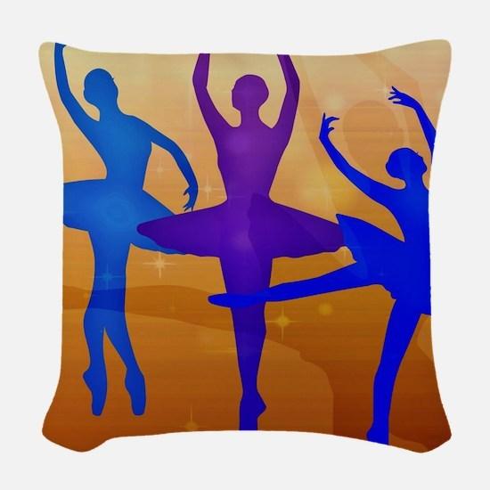 Purple Dancing Ballerinas Woven Throw Pillow
