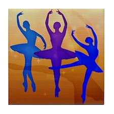 Purple Dancing Ballerinas Tile Coaster