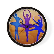 Purple Dancing Ballerinas Wall Clock