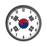 Korean flag Wall Clocks