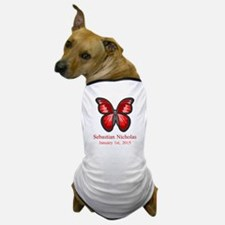 CUSTOM Red Butterfly Name Date Dog T-Shirt