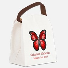 CUSTOM Red Butterfly Name Date Canvas Lunch Bag