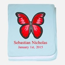 CUSTOM Red Butterfly Name Date baby blanket