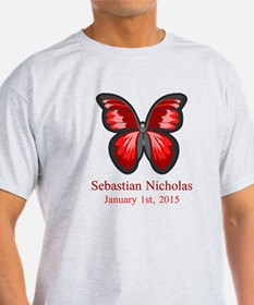 CUSTOM Red Butterfly Name Date T-Shirt