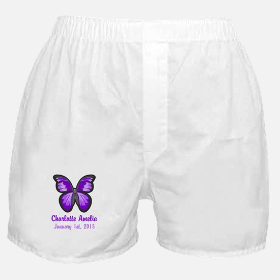 CUSTOM Purple Butterfly w/Baby Name Date Boxer Sho