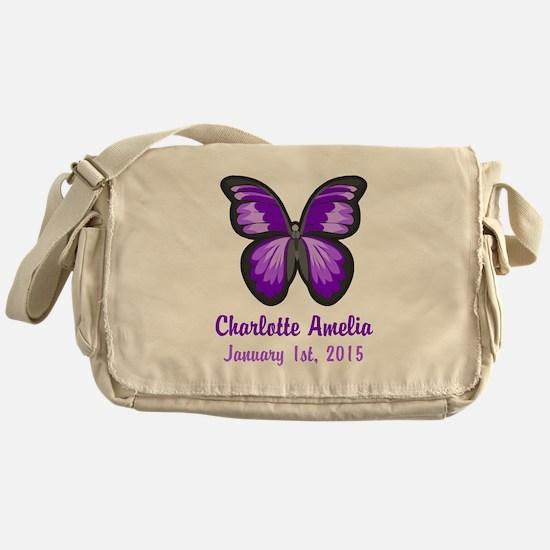 CUSTOM Purple Butterfly w/Baby Name Date Messenger