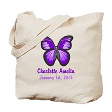 CUSTOM Purple Butterfly w/Baby Name Date Tote Bag