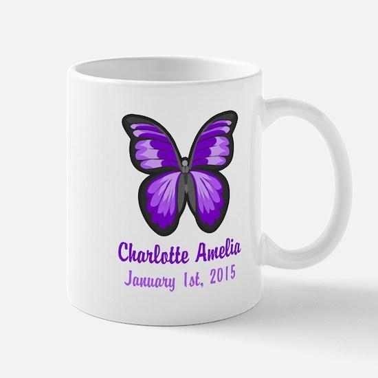 CUSTOM Purple Butterfly w/Baby Name Date Mugs