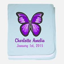 CUSTOM Purple Butterfly w/Baby Name Date baby blan