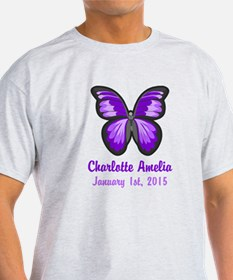 CUSTOM Purple Butterfly w/Baby Name Date T-Shirt