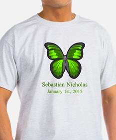 CUSTOM Green Butterfly w/Baby Name Date T-Shirt