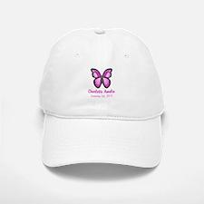 CUSTOM Pink Butterfly w/Baby Name Date Baseball Ca