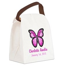 CUSTOM Pink Butterfly w/Baby Name Date Canvas Lunc