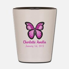 CUSTOM Pink Butterfly w/Baby Name Date Shot Glass