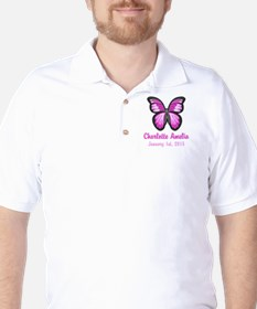 CUSTOM Pink Butterfly w/Baby Name Date T-Shirt