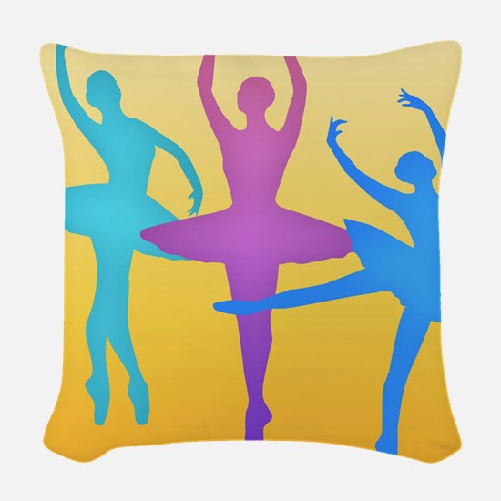 Colorful Dancers Woven Throw Pillow
