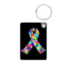 Autism Ribbon Aluminum Photo Keychain