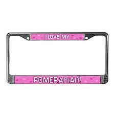 Pink Polka Dot Pomeranian License Plate Frame