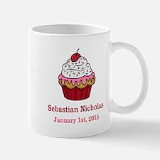 CUSTOM Cupcake w/Baby Name Date Mugs