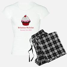 CUSTOM Cupcake w/Baby Name Date Pajamas
