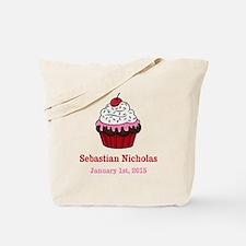 CUSTOM Cupcake w/Baby Name Date Tote Bag