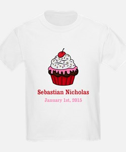 CUSTOM Cupcake w/Baby Name Date T-Shirt