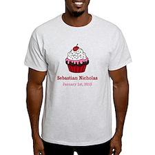 CUSTOM Cupcake w/Baby Name Date T-Shirt