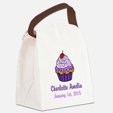 CUSTOM Cupcake w/Baby Name Date Canvas Lunch Bag
