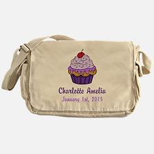 CUSTOM Cupcake w/Baby Name Date Messenger Bag
