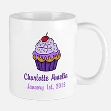 CUSTOM Cupcake w/Baby Name Date Mugs