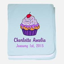 CUSTOM Cupcake w/Baby Name Date baby blanket