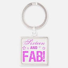 Fabulous 16th Birthday Square Keychain
