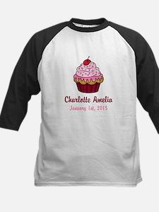 CUSTOM Cupcake w/Baby Name and Date Baseball Jerse
