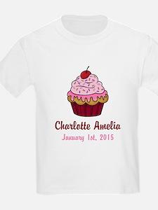 CUSTOM Cupcake w/Baby Name and Date T-Shirt