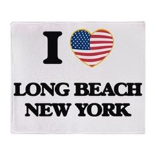 I love Long Beach New York Throw Blanket