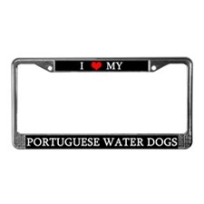 Love Portuguese Water Dogs License Plate Frame
