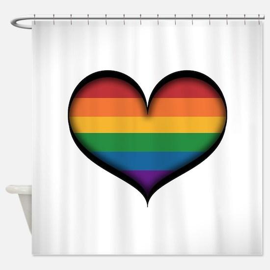 LGBT Rainbow Heart Shower Curtain