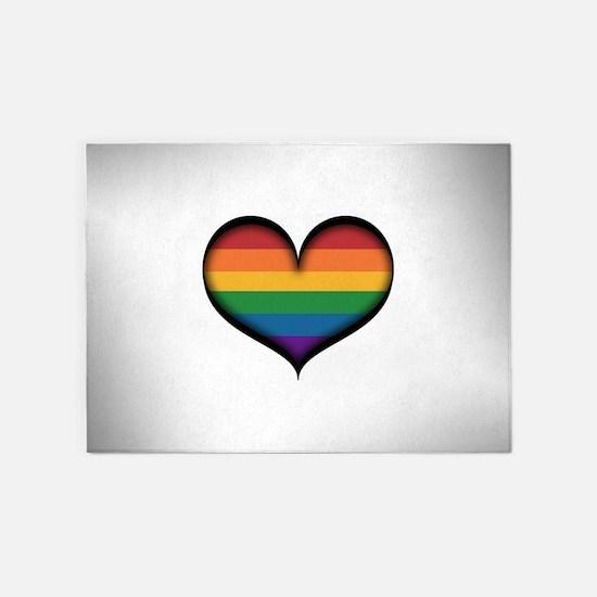 LGBT Rainbow Heart 5'x7'Area Rug