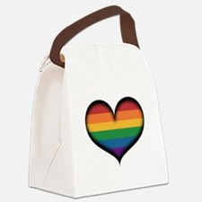 LGBT Rainbow Heart Canvas Lunch Bag