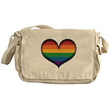 LGBT Rainbow Heart Messenger Bag