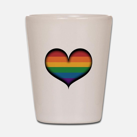 LGBT Rainbow Heart Shot Glass