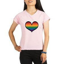 LGBT Rainbow Heart Performance Dry T-Shirt
