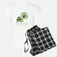 CUSTOM Green Baby Turtle w/Name and Date Pajamas