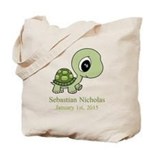 CUSTOM Green Baby Turtle w/Name and Date Tote Bag