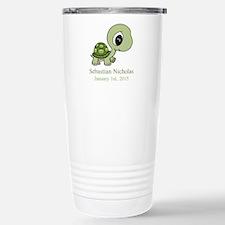 CUSTOM Green Baby Turtle w/Name and Date Travel Mu