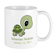 CUSTOM Green Baby Turtle w/Name and Date Mugs