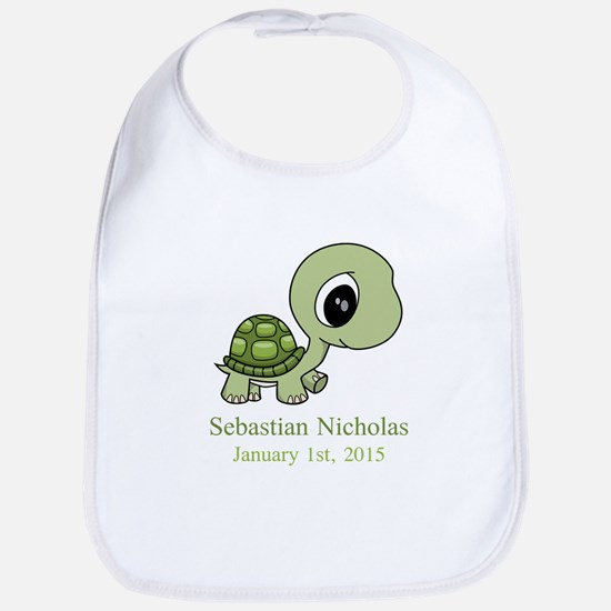 CUSTOM Green Baby Turtle w/Name and Date Bib