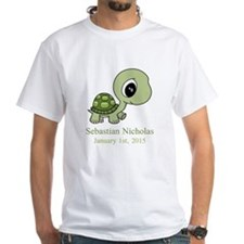 CUSTOM Green Baby Turtle w/Name and Date T-Shirt