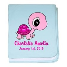 CUSTOM Pink Baby Turtle w/Name and Date baby blank