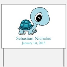 CUSTOM Baby Blue Turtle w/Name and Date Yard Sign